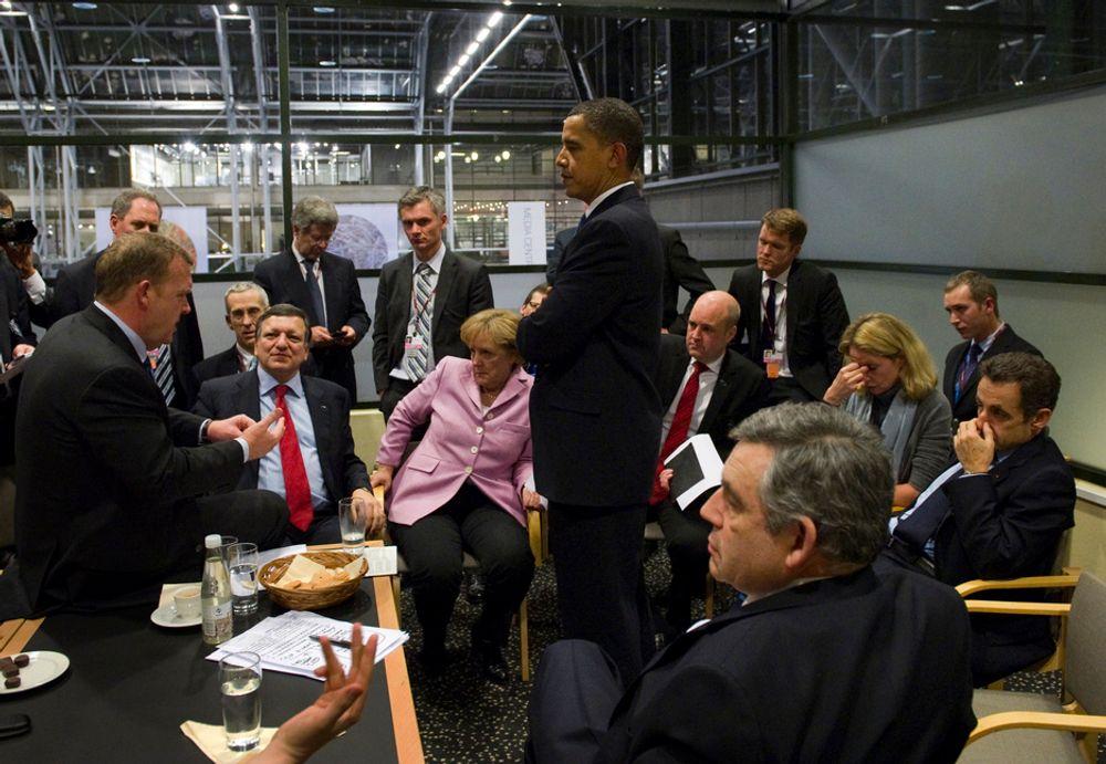 NATTLIG FIASKO: Verdens mektigste statsledere klarte ikke å samle seg om en forpliktende klimaavtale i København i desember 2009.