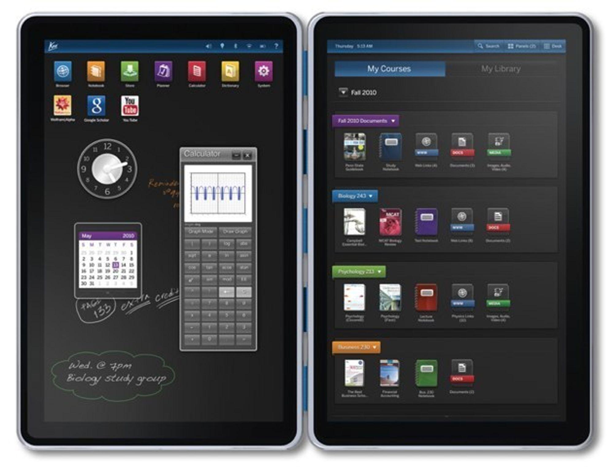 E-BOK: Knos e-bok har to skjermer som kan felles ut akkurat som en vanlig bok eller et magasin.