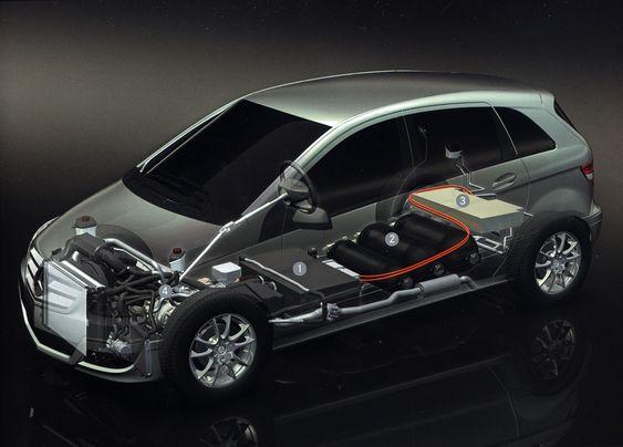 TVERRSNITT: 1) Brenselcellestacken. 2) Tanksystemet (700 bar). 3) Batteriet (1,4 kWh litiumione). 4) Elmotoren
