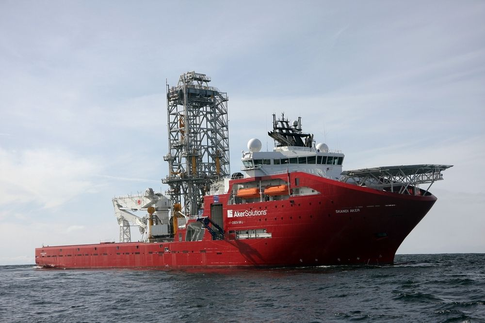 PRISET: Skandi Aker ble overlevert i mars i år. Det kan brukes til alt fra dykkeskip til konstruksjonsfartøy og boring. Det er klasset både som skip og rigg. Skipet er 157 meter langt, 27 meter bredt og har plass til 140 personer.