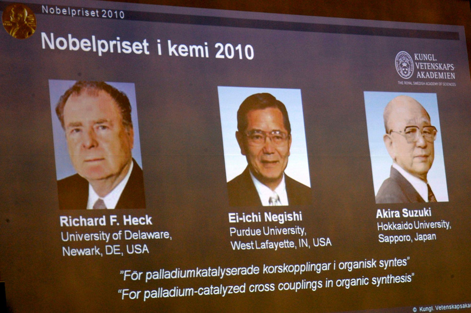 Nobelprisen i kjemi for 2010 går til Richard F Heck, Ei-ichi Negishi og Akira Suzuki.