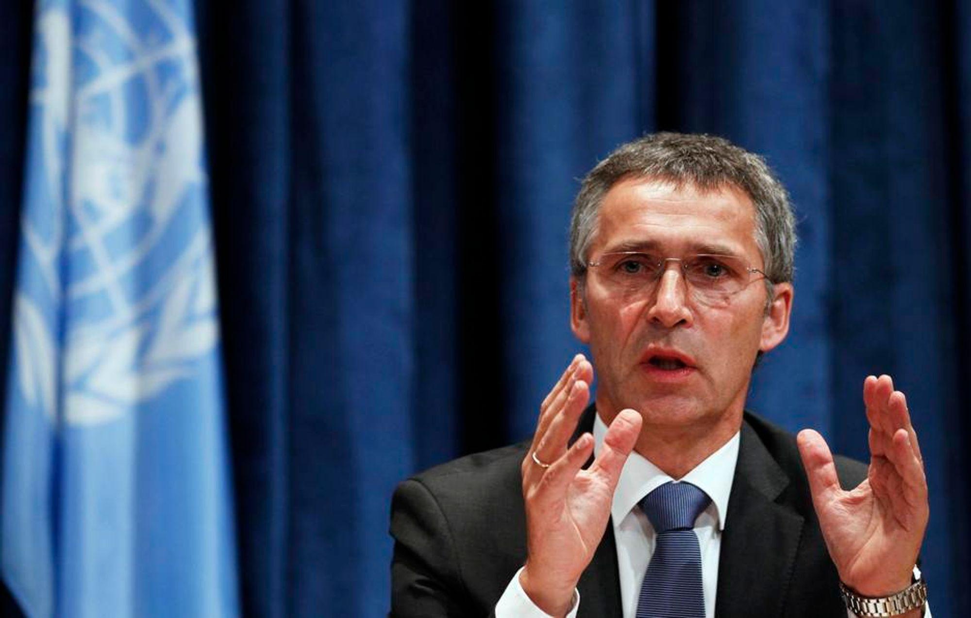 Statsminister Jens Stoltenberg i  New York fredag. Tiltak mot CO2-utslipp fra luft- og skipsfart var blant klimarådene Jens Stoltenberg ga verdensorganisasjonen.