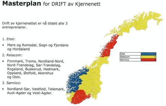 """FASITEN: Disse selskapene endte opp med å vinne """"fylkesmonopol"""" på Telenor-leveranser i de ulike landsdelene."""