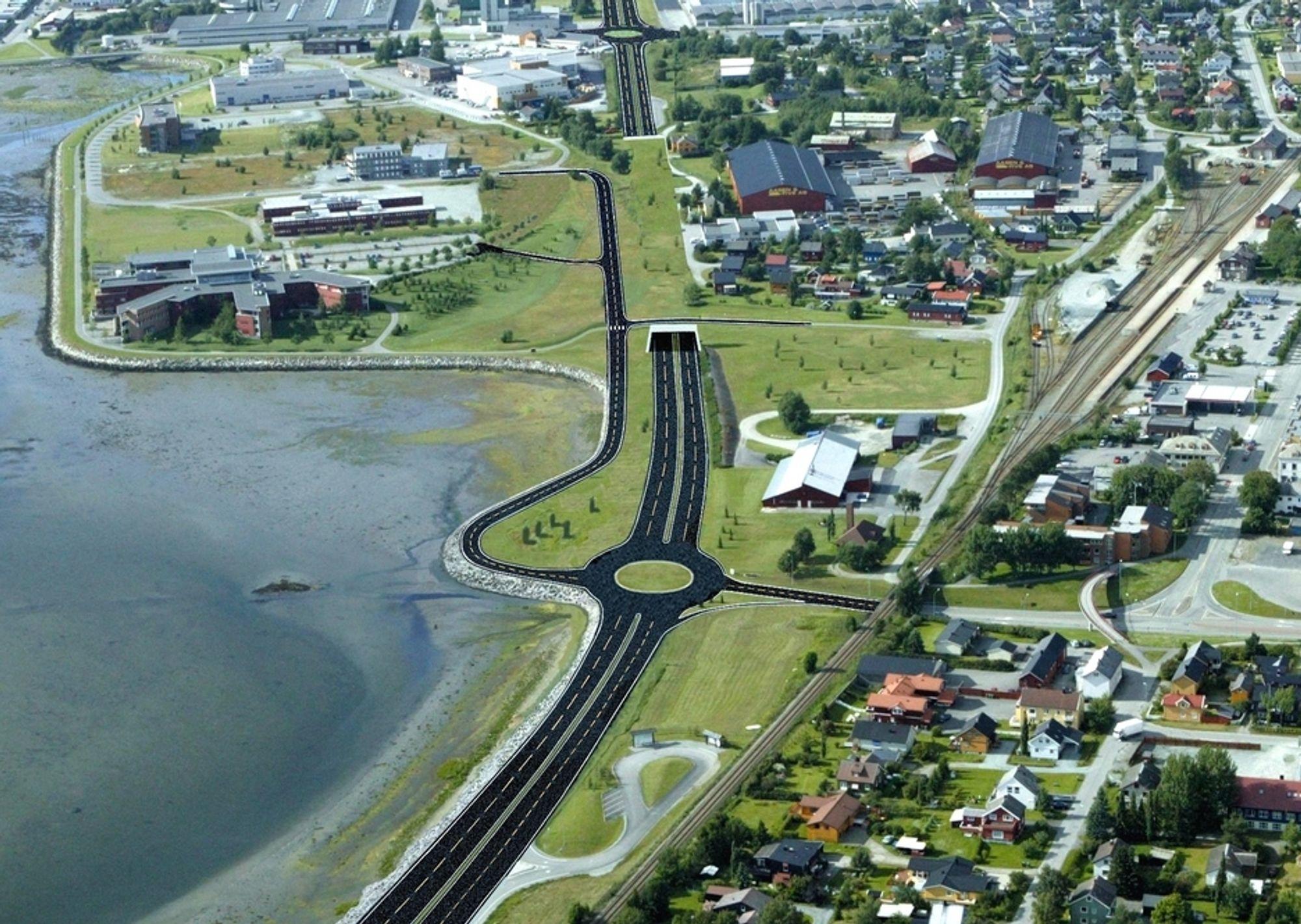 Bildet viser den nordlige delen av strekningen Værnes-Havnekrysset. Rundkjøringen i forgrunnen er Halsøenkrysset hvor E 14 tar av fra E 6. I bakgrunnen ligger Tangtunnelen. Grunnarbeid skal ta seg av alle veger som er markert med svart.