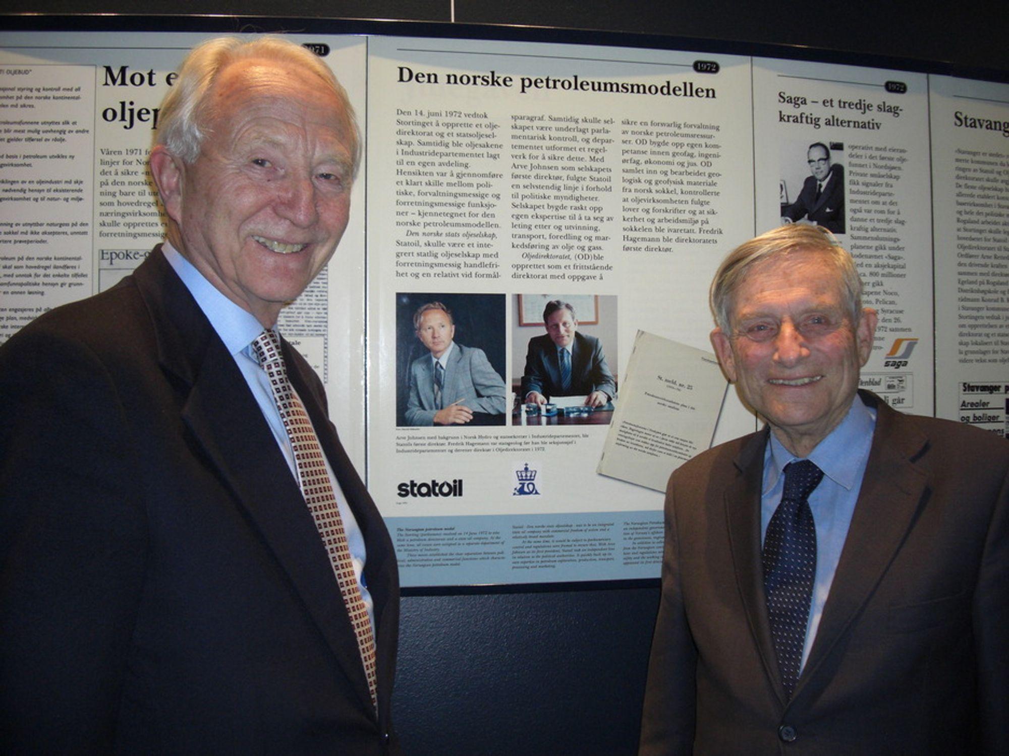 PIONÉR: Tidligere oljedirektør Fredrik Hagemann (t.h) skal dele av sine historiekunnskaper under konferansen 35MINUS i juni. Her sammen med tidligere Statoil-direktør Arve Johnsen