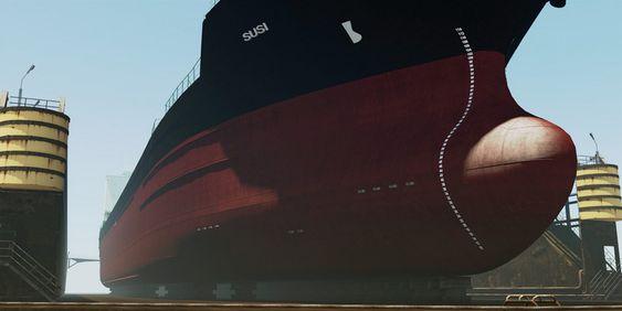 BREKKER: Vi fikk  teste 3D-inspeksjon av denne supertankeren, Sisu,  med kritisk skade. En strukturell, alvorlig skade ble funnet under bunnen. Skipet ville fått seilimngsforbud.