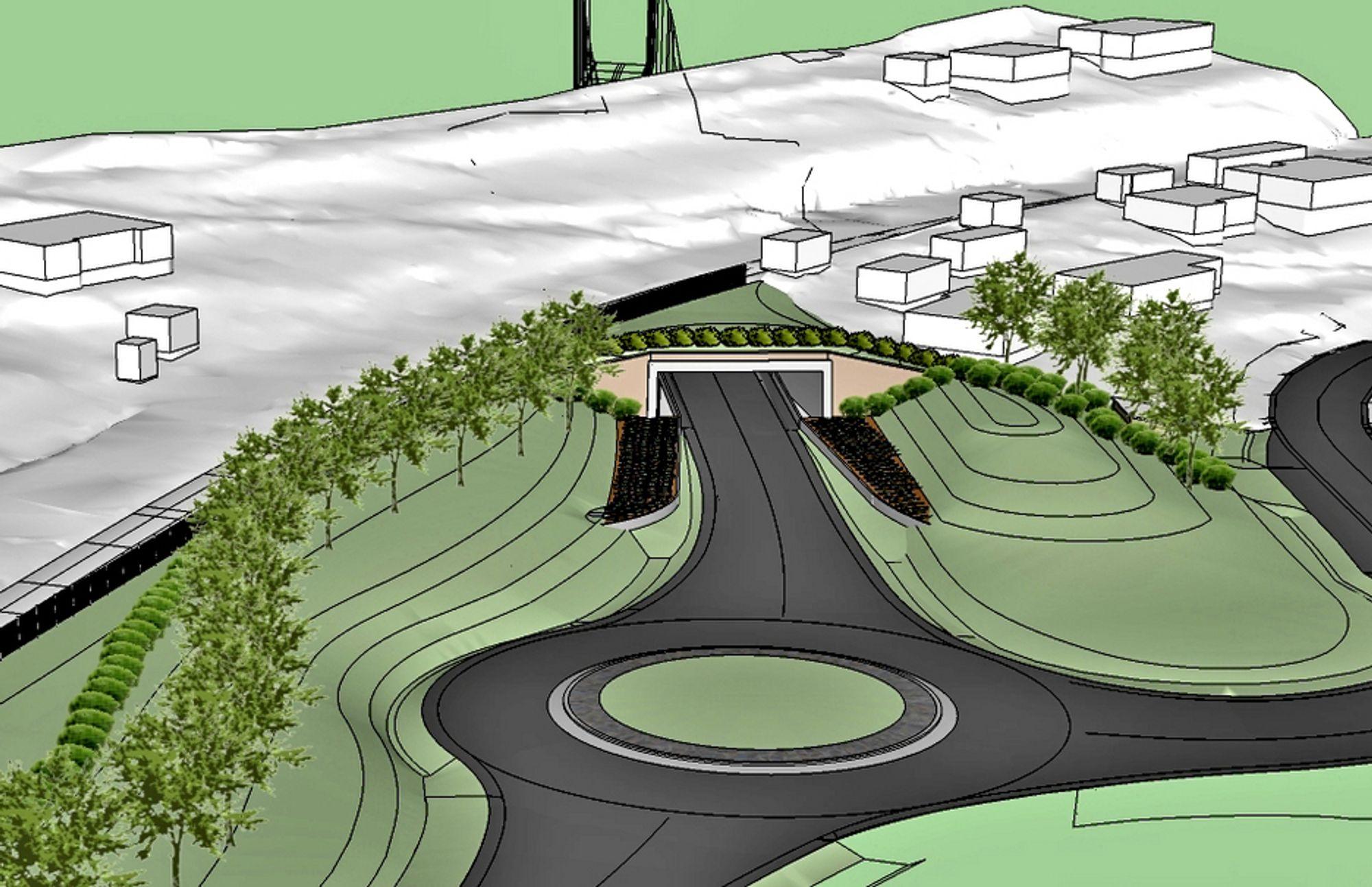 Portalen midt på bildet er vestre ende av en 110 meter lang kulvert under Bergensbanen. De som vil bygge den, må regne ferdig innen 7. september.