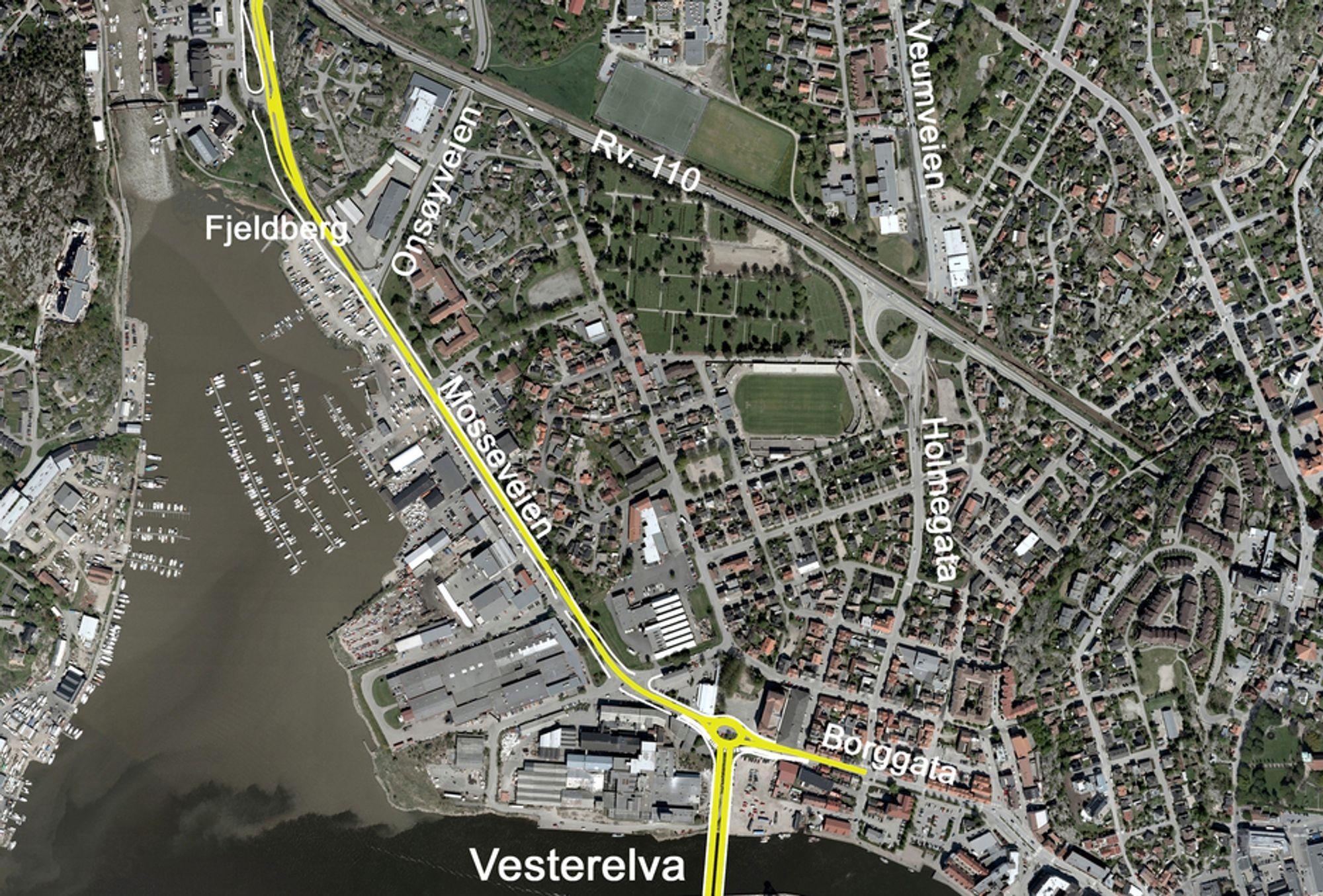 Denne illustrasjonen er ikke helt oppdatert. I tillegg til den rundkjøringen som er markert, blir det en rundkjøring i krysset mellom Mosseveien og Onsøyveien.