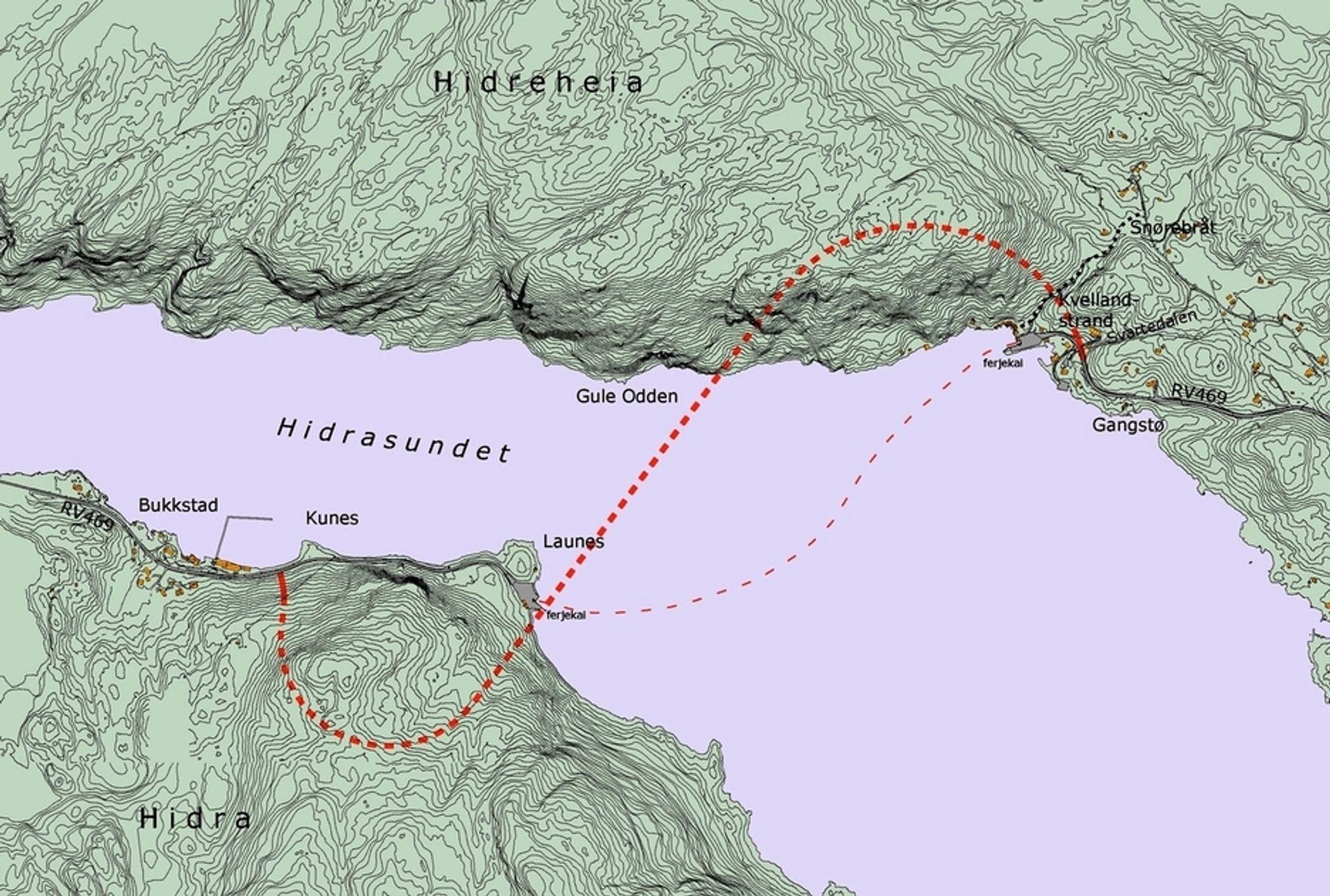 Tunnelen under Hidrasundet får en tilnærmet S-formet trasé. Vegvesenet håper den er klar til bruk før konsesjonen til Flekkefjord Dampskipselskap går ut ved utgangen av 2013.
