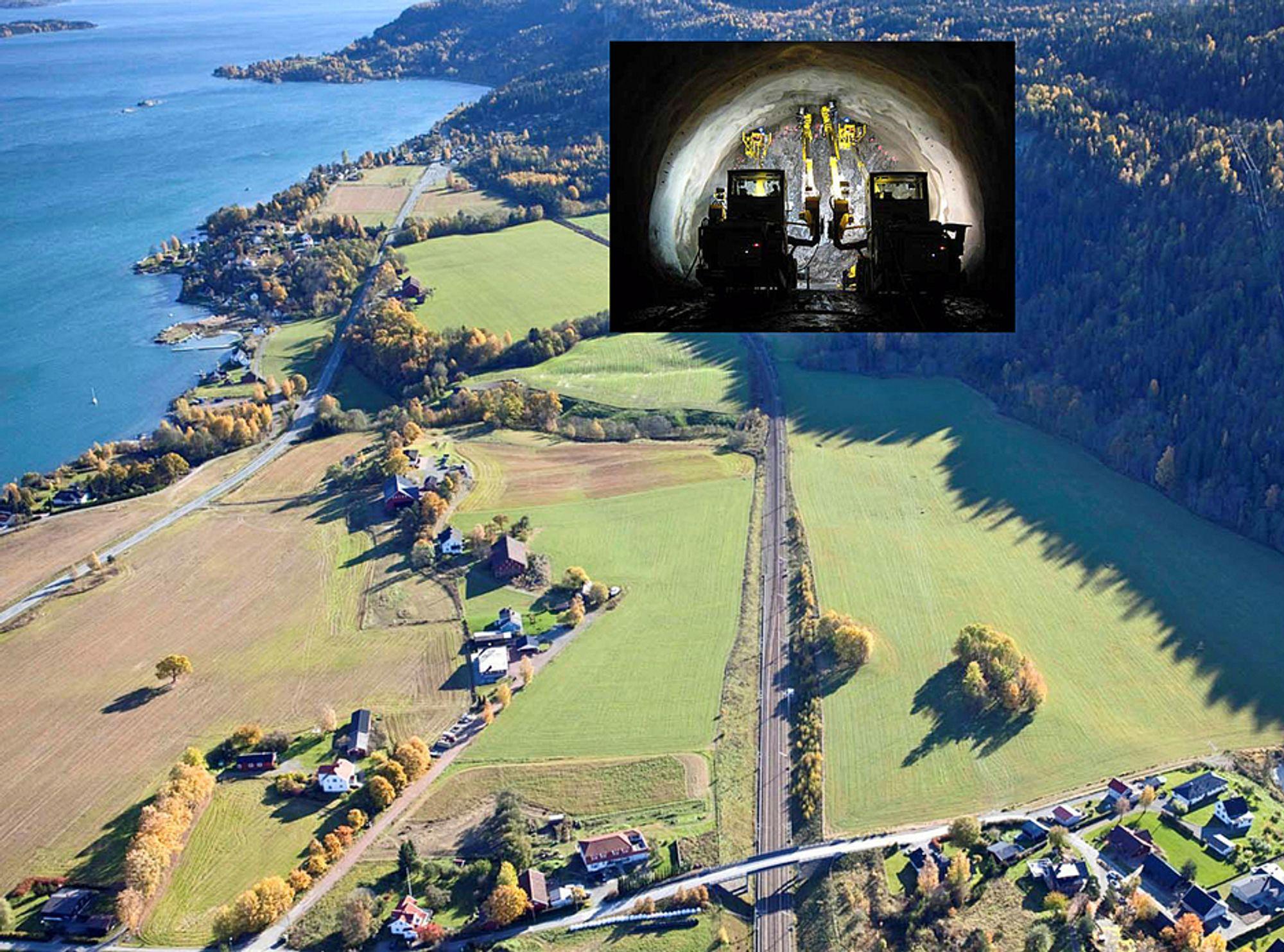 Her på Holm starter byggingen av dobbeltspor til Nykirke.
