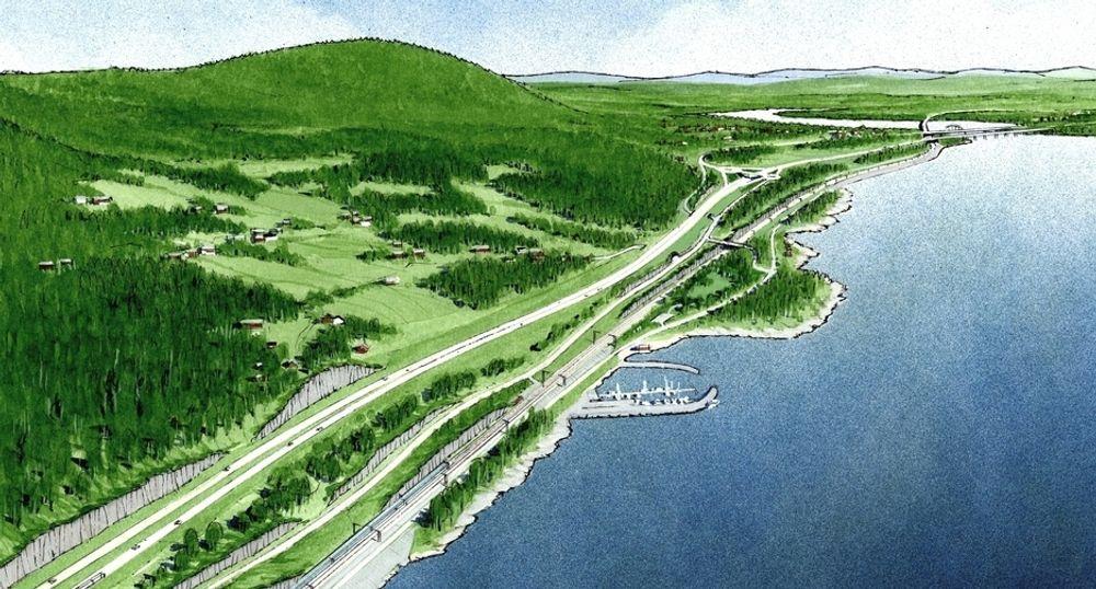 Tegningen viser Ørbekk på den sørligste av de tre parsellene langs Mjøsa. Minnesundbrua skimtes i det fjerne. De som vil prosjektere denne parsellen, må gi anbud innen 7. september.