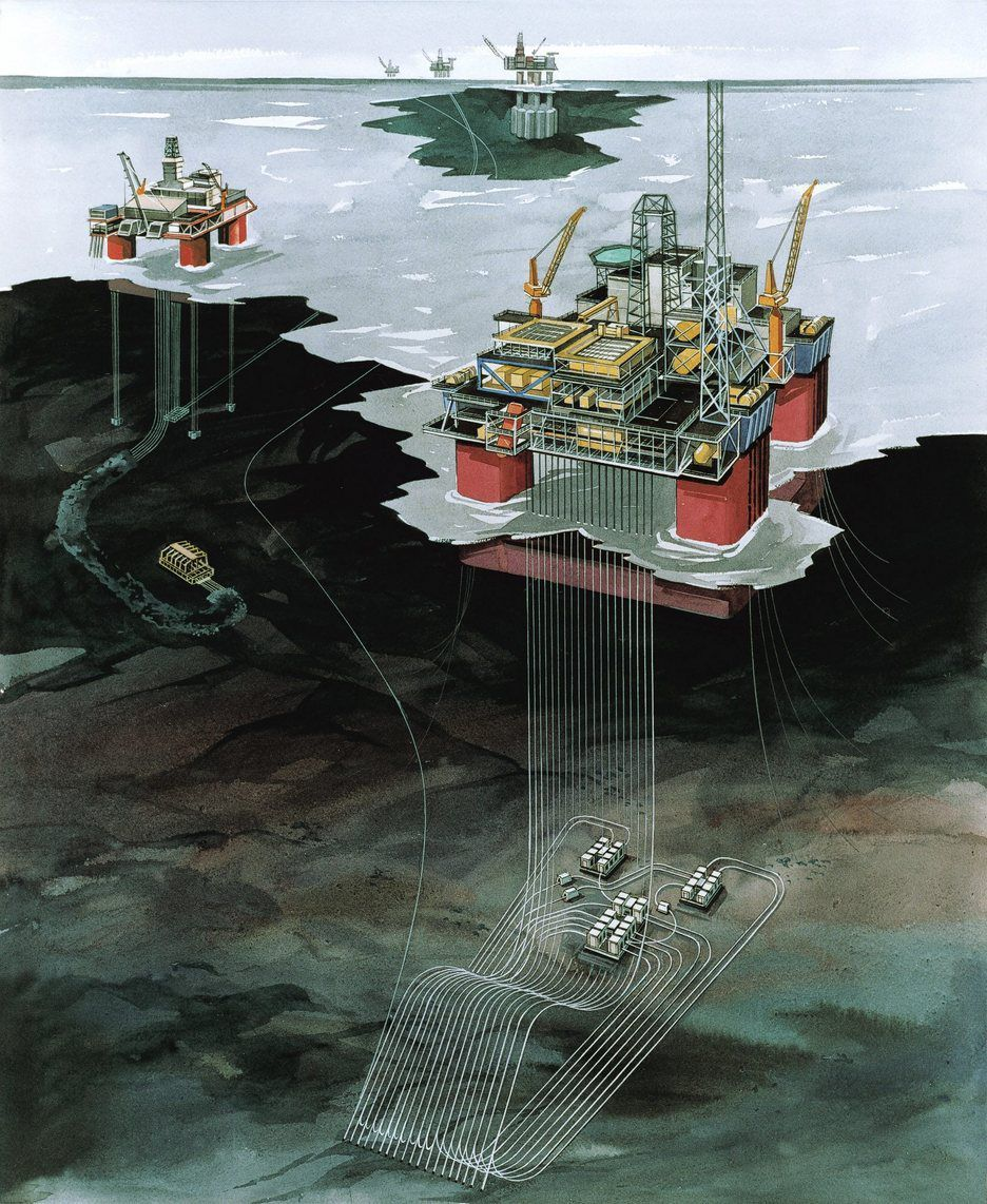 TRE ENHETER: Snorre feltet engasjerer i dag tre plattformen Snorre A og B pluss prossering på Statfjord A. Vigdis-feltet er knyttet opp mot Snorre A.