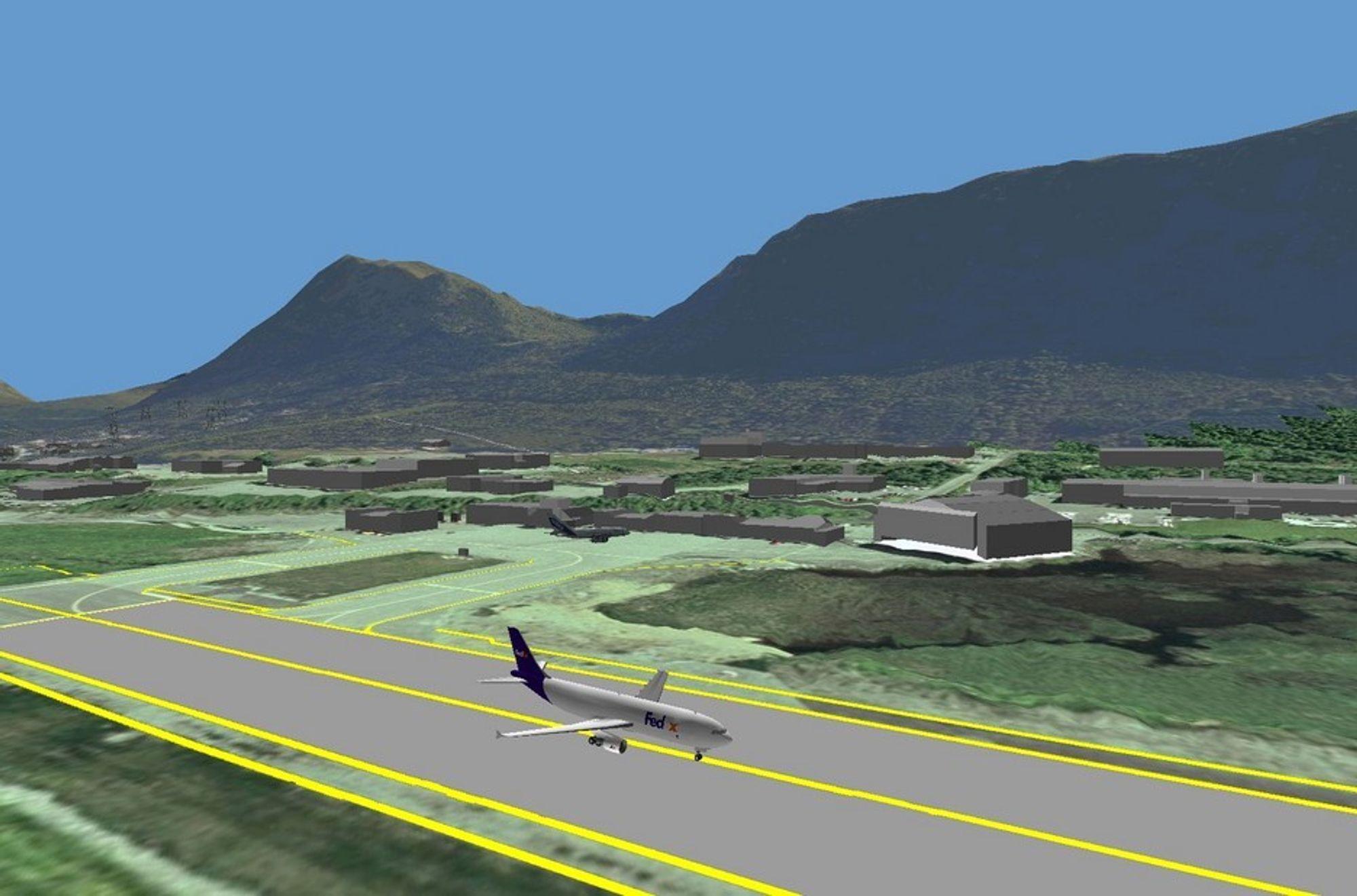 NY DIMENSJON: Avinor går fra todimensjonale kart til mulighet for 3D-visning, som her fra Ørsta-Volda lufthavn, Hovden.