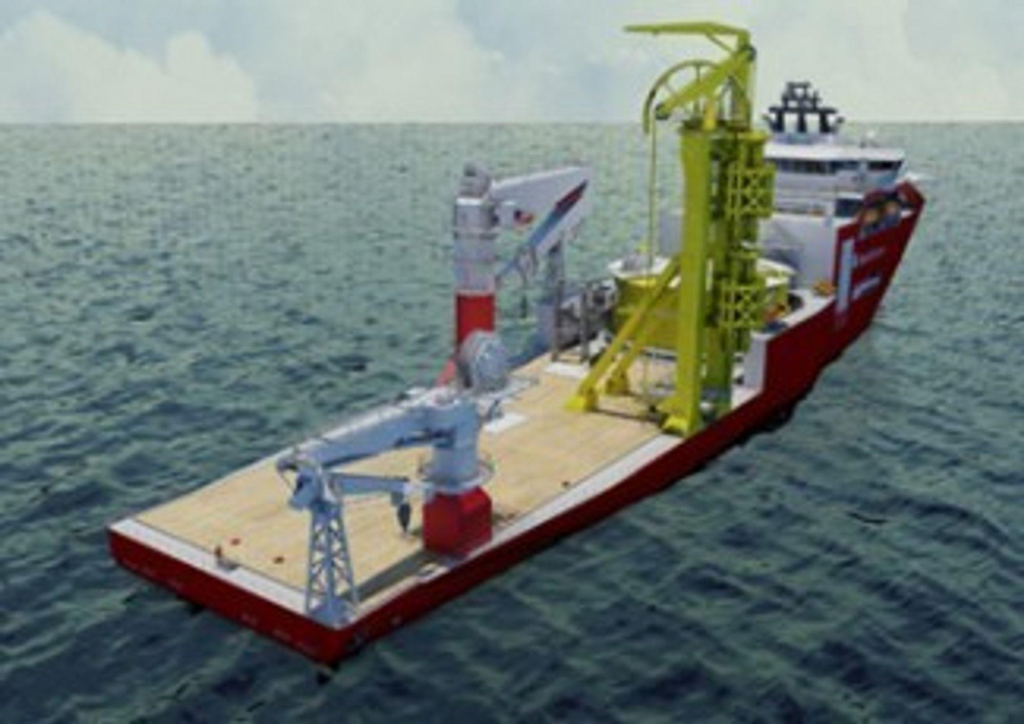 FLEKSIBEL: Aker Connector får dekksplass med kapasitet på 9000 tonn og utstyr som kan tas av dersom skipet skal brukes til noe annet enn  kabel- eller umbilicalutlegging.