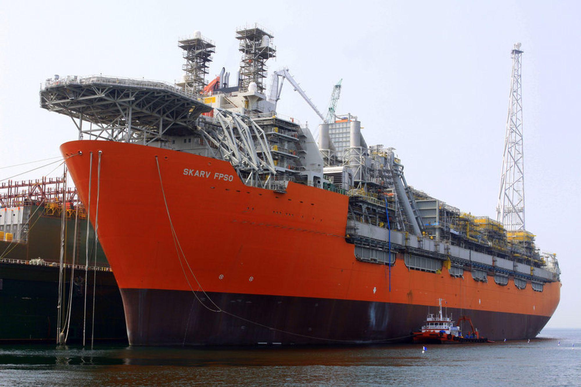 HJEMME OG UTE: BPs Skarv FPSO er konstruert i Norge, men bygges i Korea. Norske verksteder er for dyre for denne typen oppdrag.