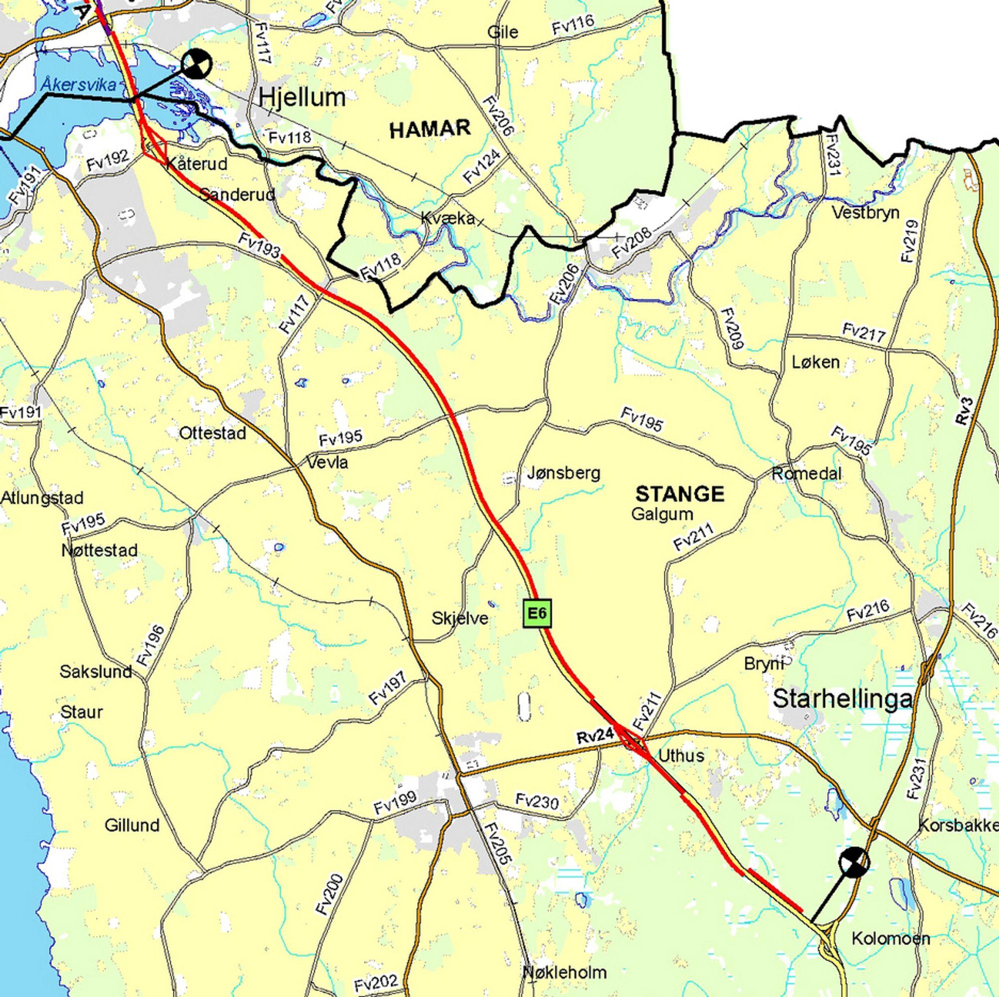Asplan Viak skal lage reguleringsplan, teknisk plan, forprosjekt for konstruksjoner og geotekniske rapporter for ny E 6 mellom Kolomoen og Kåterud. Den røde linjen markerer den nye kjørebanen.