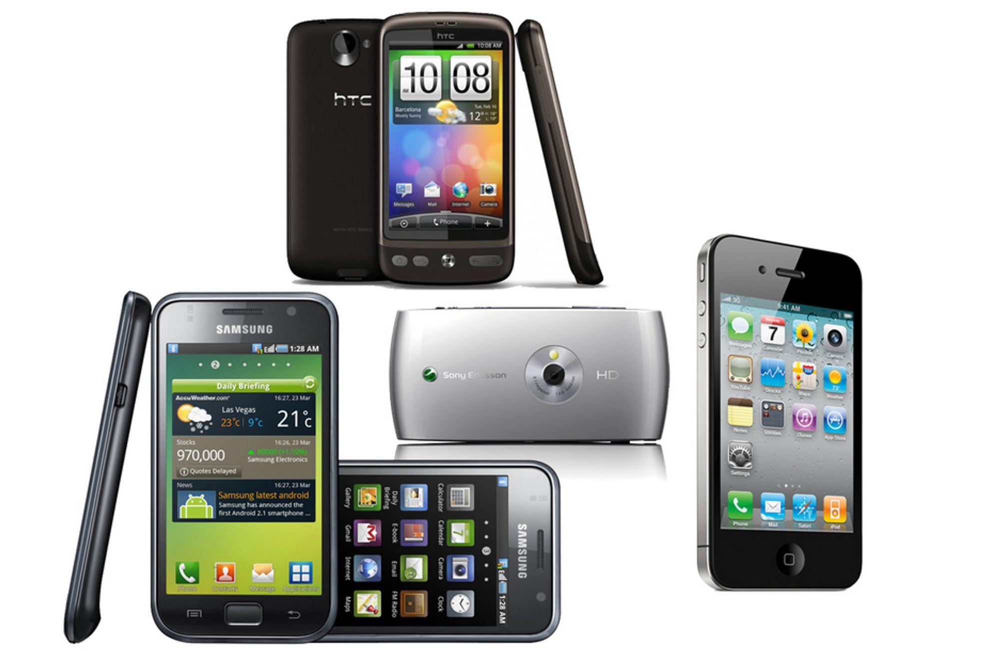 Samsung Galaxy S, HTC Desire, Sony Ericsson Vivaz og iPhone 4 er alle nominerte til minst én pris under Gulltasten-kåringen.