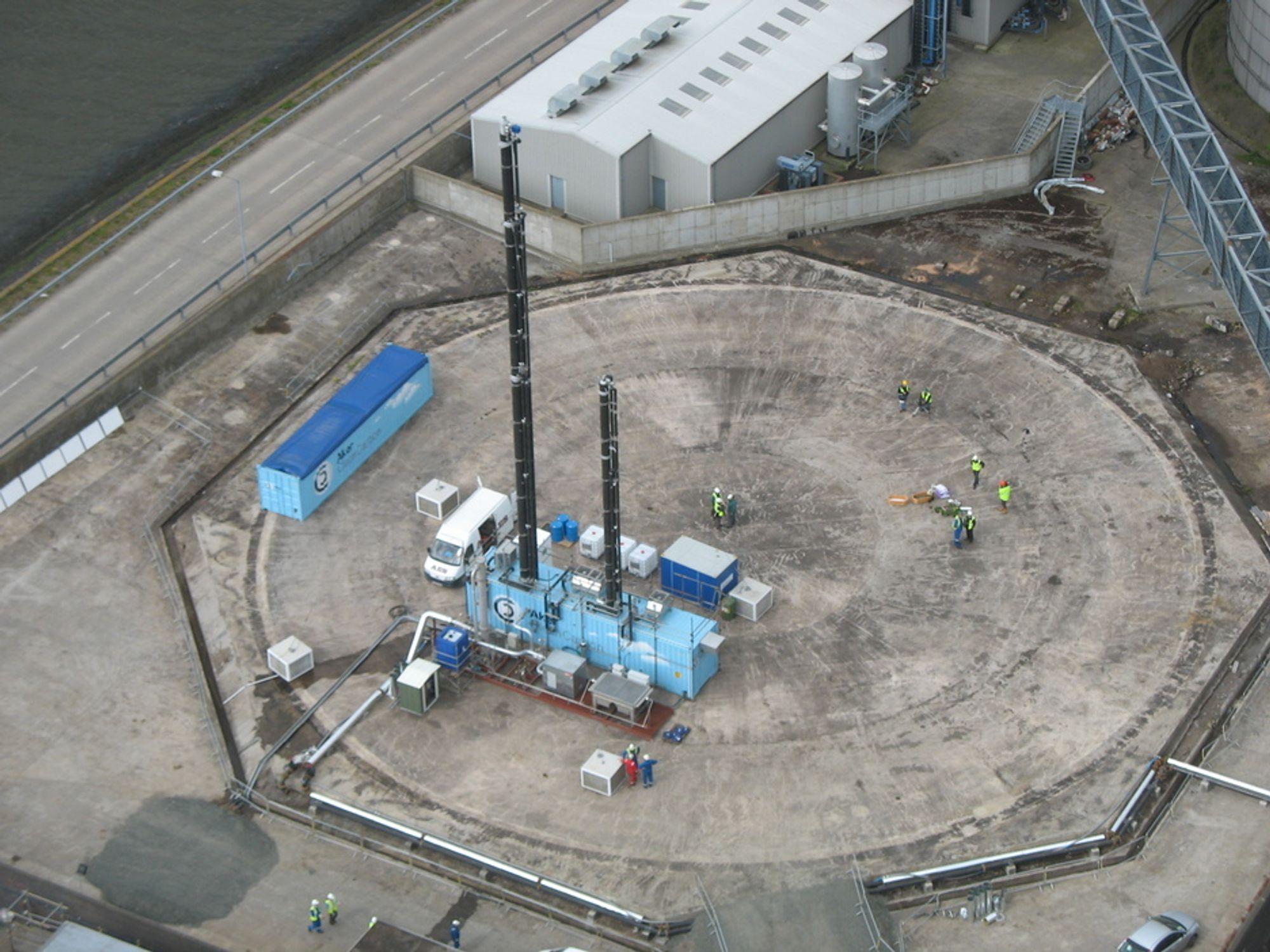 NY KONTRAKT: Dette er Aker Clean Carbons mobile testenhet for CO2-fangst for bruk på kullkraftverket Longannet. Nå har selskapet fått kontrakt om å levere fangstteknologi til italienske Enels oljekraftverk Porto Tolle.