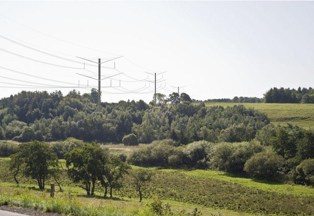 TO ETASJER: Danskenes foreslåtte nye mast, Eagle, er en grå toetasjers mast i varmgalvanisert stål. To statlige miljøsentre vil bruke masten på en ny 400 kV mellom Kassø og Tjele på Jylland.