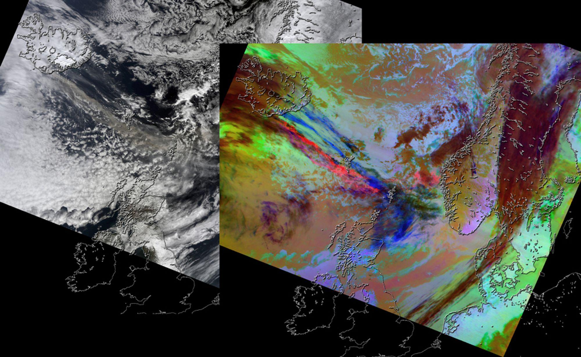 FARGEANALYSE: De pågående utslippene fra Eyafjallajökull vises på bilder tatt fra Nasas Terra-satellitt den 15. april. Instrumentet MODIS - Moderate Resolution Imaging Spectroradiometer gir mange ulike bilder fra ulike infrarøde kanaler. Til venstre vises hvordan de ser ut i gråtoner, mens til høyre vises en kompositt fra de ulike termiske kanalene.