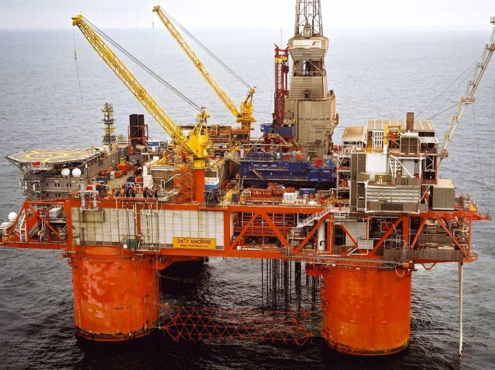 OLJE OG GASS: Snorre A kom i drift i 1992 og produserer olje og gass som går i rørledning til Statfjord A-plattformen for endelig prosessering.