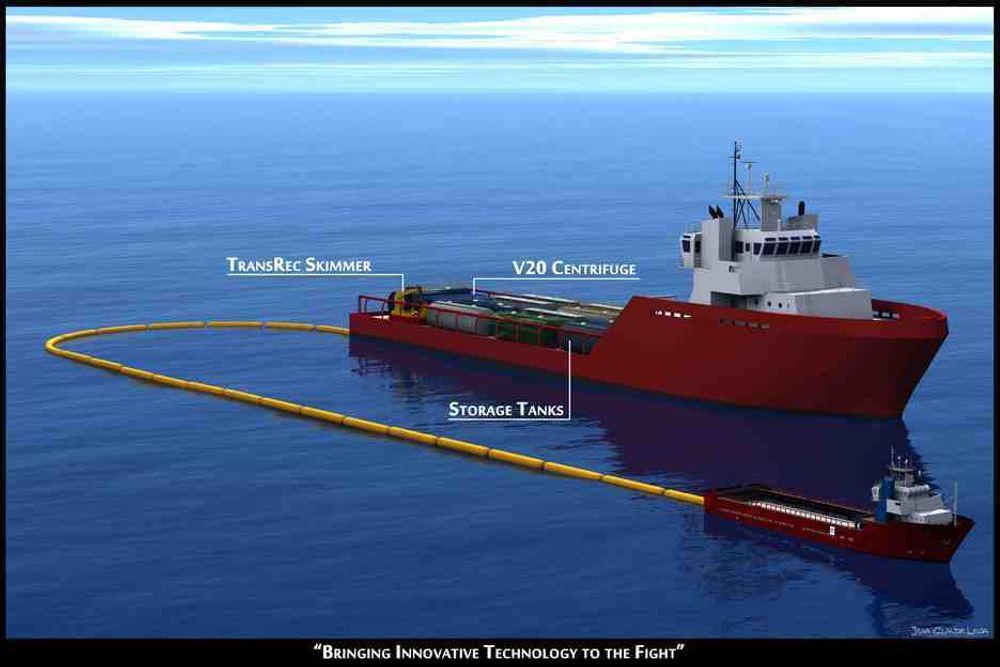 SYSTEM: Ocean Therapy Solutions og rederiet Edison Chouest har utstyr supplyskipet Ella G med lenser, Frank Mohn-skimmer, OTS-separtorer og oljelagertanker.  Skipet kan settes inn der det er behov. Costner vil ha flere slike skip i beredskap rundt Mexicogulfen.