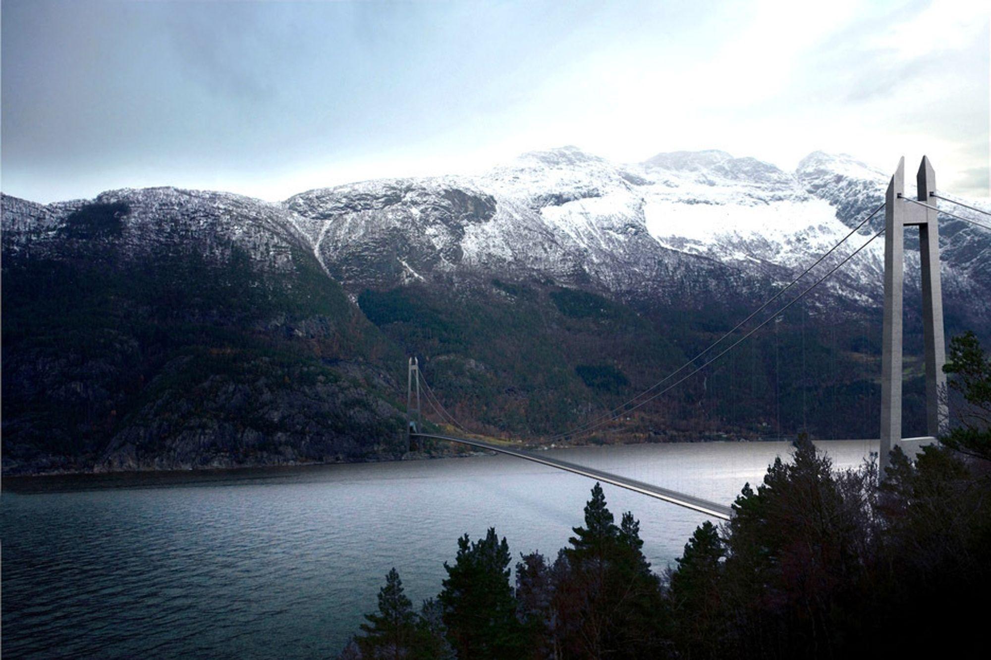 HARDANGERBRUA: Slik blir forbindelsen mellom Bruravik og Brimnes når Hardangerbrua åpner i 2013.