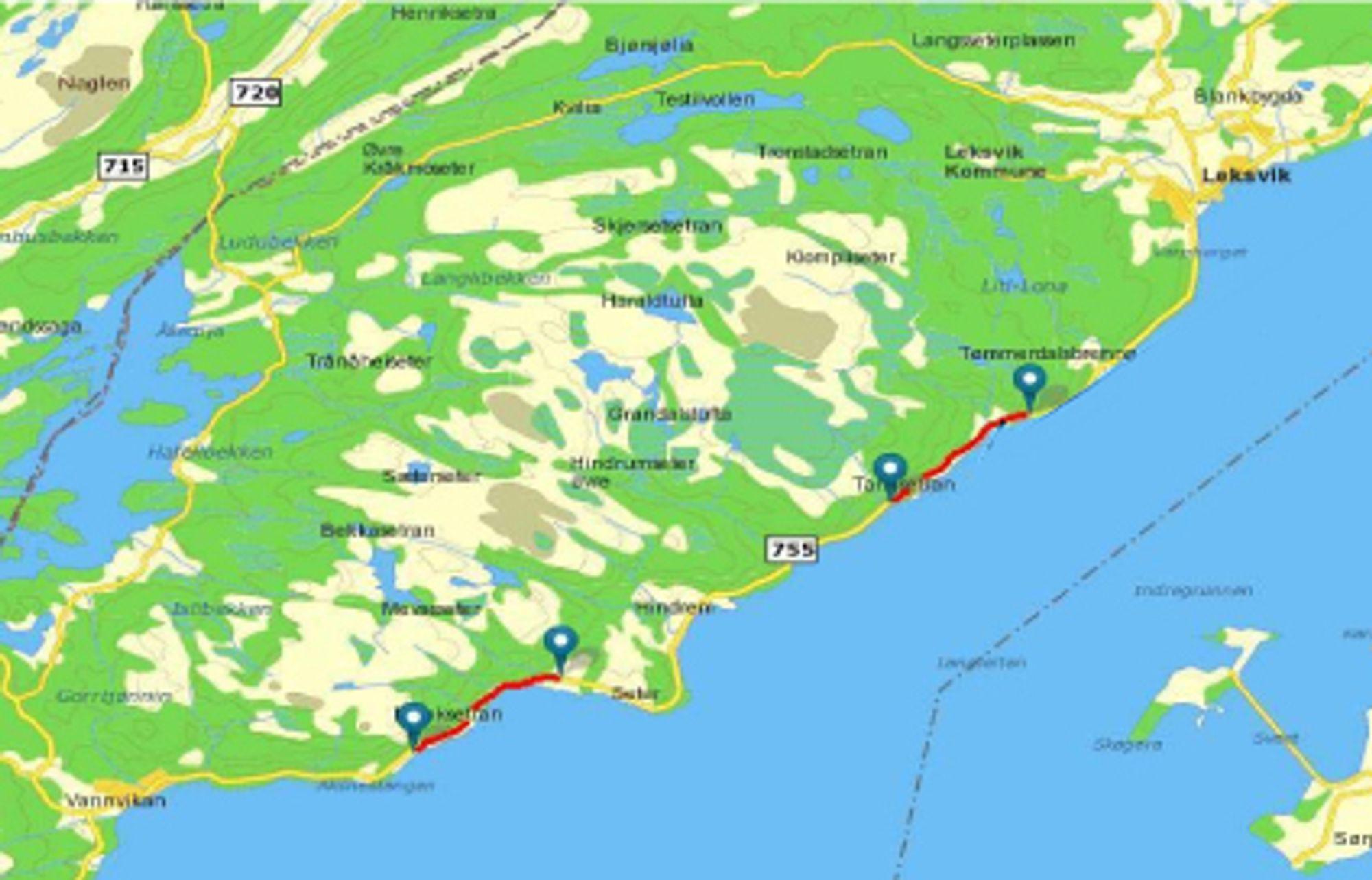 Den røde linjen til høyre markerer den 3,2 km lange strekningen som utgjør den første av 18 entrepriser på prosjektet Tosenvegene.