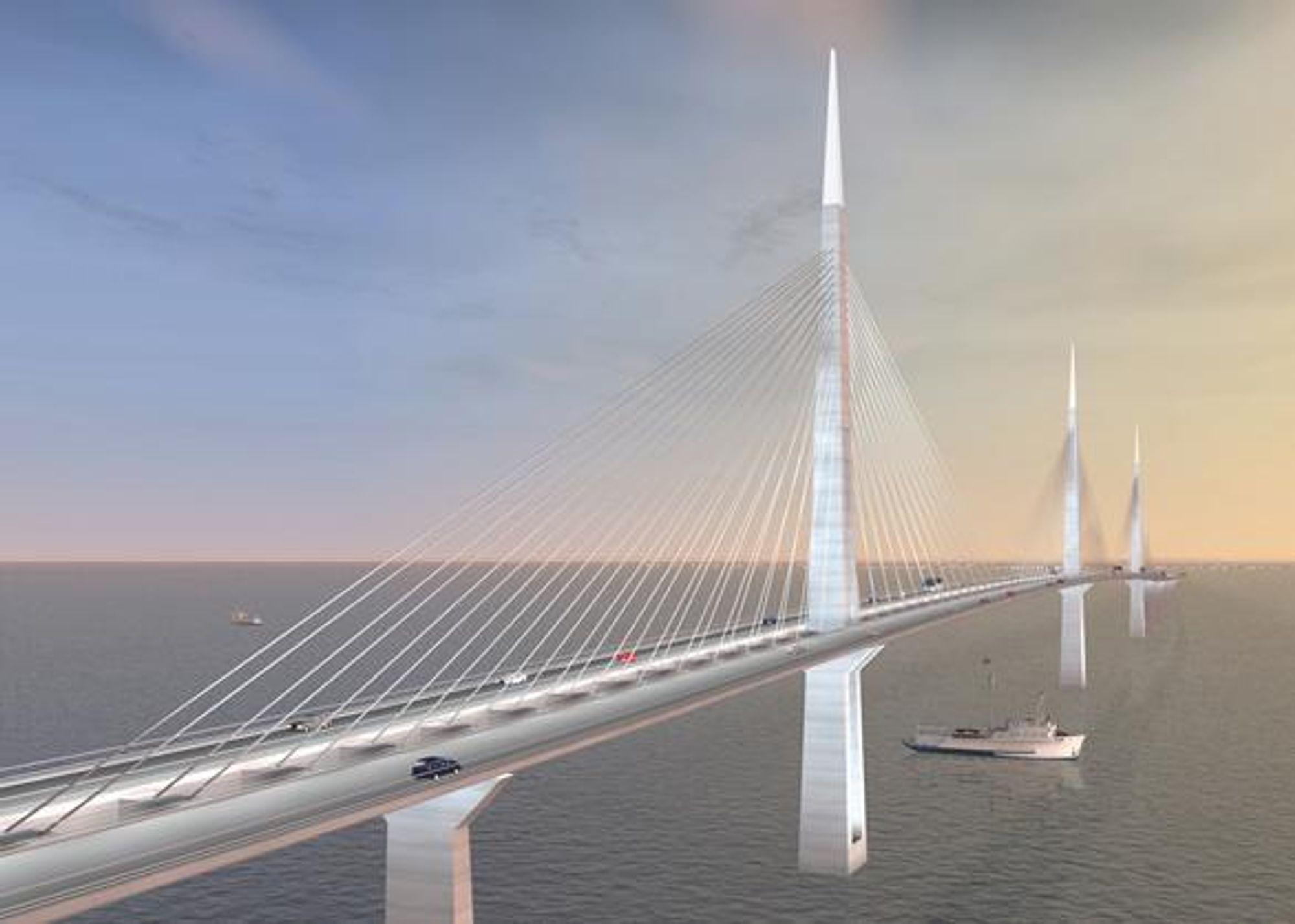 """LITE VENNLIG: """"Qatar - Bahrain friendship bridge"""", kalles den, men det er langt fra et vennskapelig forhold mellom de to landene. Det forsinker nå hele prosjektet."""