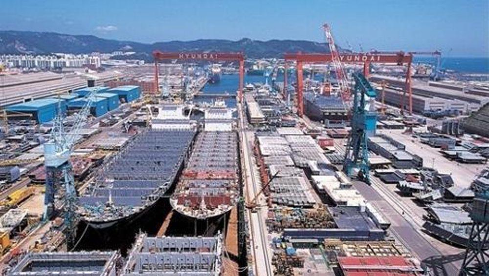 STOR FORSKJELL: Hyundai Heavy Industries er ev verdens sktørste skipsbyggere og har verdens største anlegg for å bygge flytende produksjonplattformer. Hittil har de bygget mer enn 15 FPSO-er.