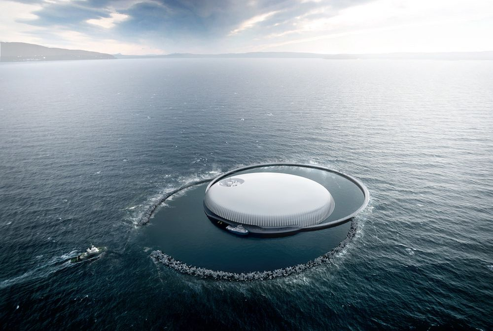 Ocean Space Center, Trondheim. Forsknings- og kunnskapssenter for maritime aktiviteter. Skal bestå laboratorier, undervisningslokaler, kontorer og besøkssenter i Nyhavna i Trondheim sentrum og havlaboratorier og bassenger ute i havnebassenget, på kante av en skrent ned mot 300 meters dyp. Her skal det forskes på alt som har med maritim virksomhet, havbruk, og energi. Kan stå ferdig i 2020 til en prislapp på ca. 10 milliard er kroner.  Arkitektur: Snøhetta. Illustrasjon: MIR.