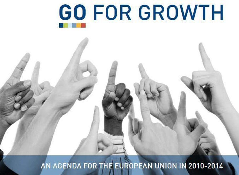 """GÅR FOR VEKST: Dette er rapporten """"Go For Growth"""" fra BusinessEurope, hvor også NHO er medlem. De advarer politikerne mot å glemme industrien og tro at tjenestesektoren kan skape nok vekst i Europa til å bevare velferdsnivået. De etterlyser blant annet mer støtte til innovasjon."""