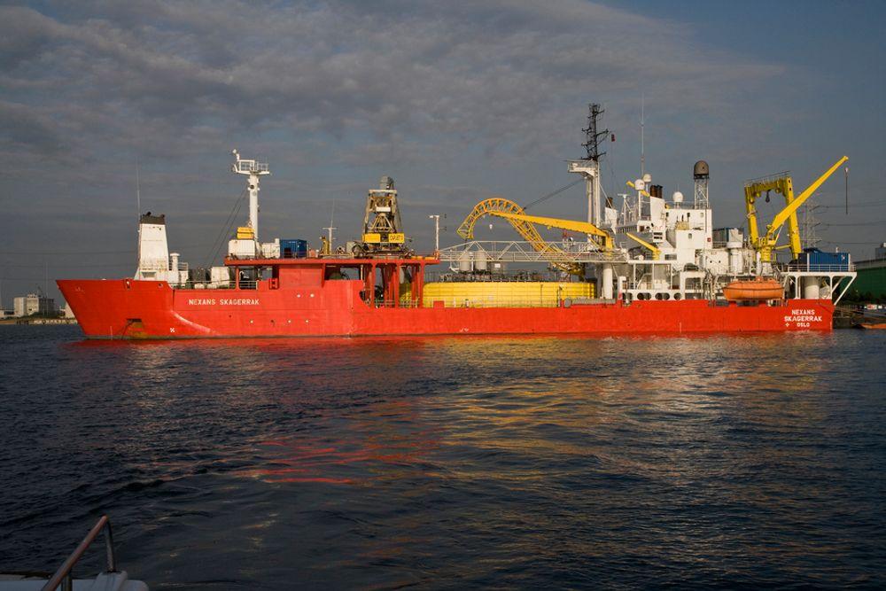 M/S Nexans Skagerrak før hun ble sendt til Liverpool for oppgradering. Nå har hun fått større kapasitet etter å ha ligget i tørrdokk ved The Cammel Laird Shiprepairs and Shipbuilders Ltds Birkenhead.