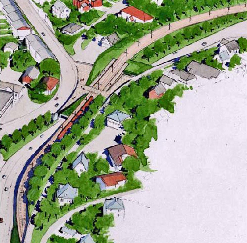 Tegningen viser holdeplassen Tors vei. Fanaveien ligger under holdeplassen. På den skal det utføres arbeid for mange millioner kroner.