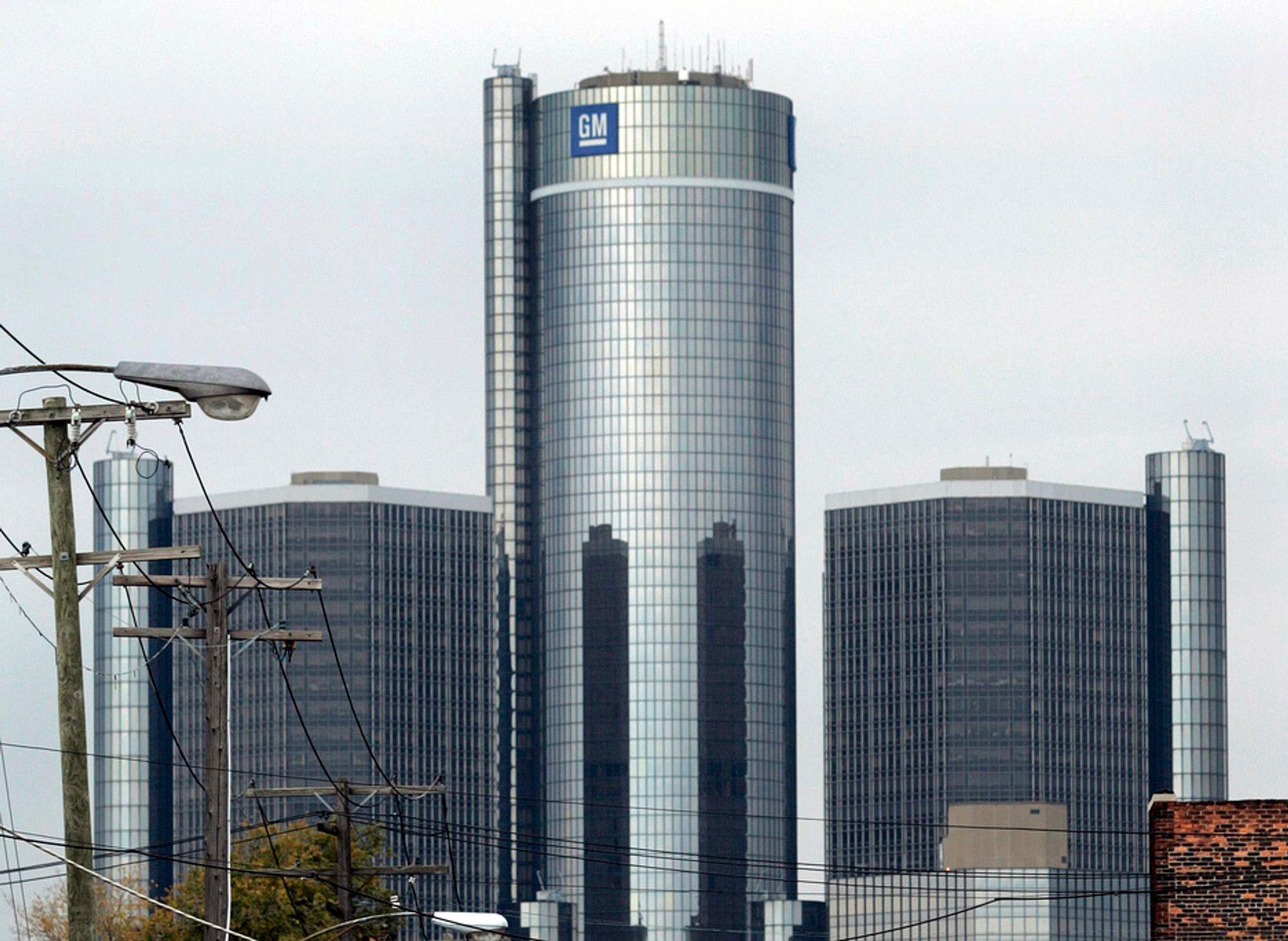 General Motors' hovedkvarter i Detroit. Nå forbereder regjeringen en styrt konkurs av bilgiganten, melder Washington Post.