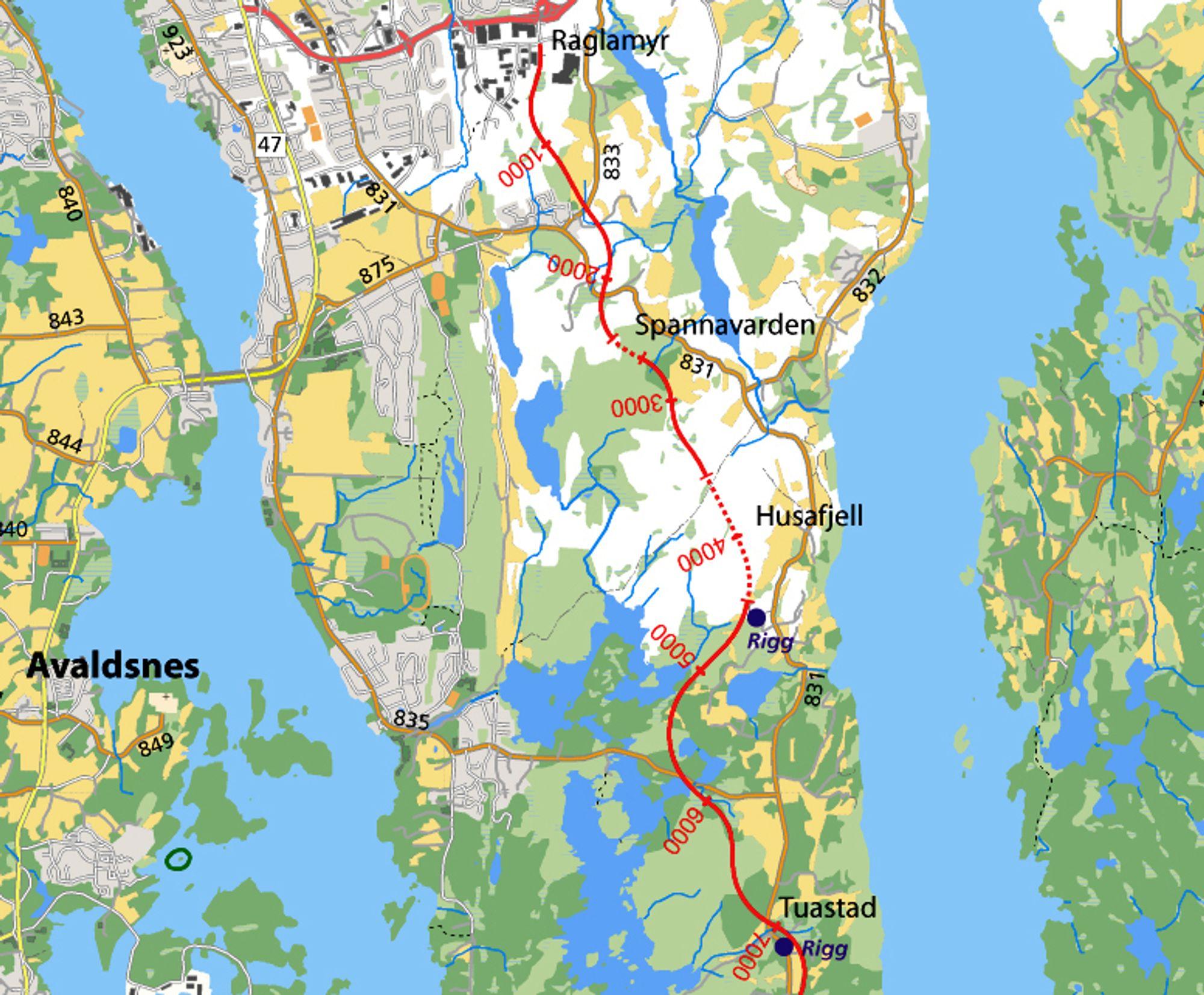 Strekningen Raglamyr-Tuastad er 6,9 km lang og utgjør over halvparten av den vertikale delen av T´en i T-forbindelsen. Vassbakk & Stol har gitt det klart laveste anbudet.