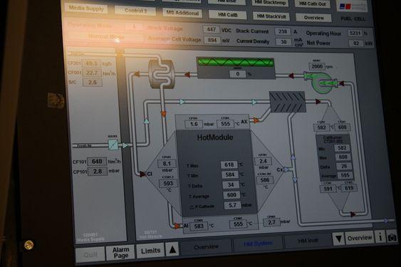 Displayet viser tilstanden på brenselcellen og systemer rundt om bord på Viking Lady.