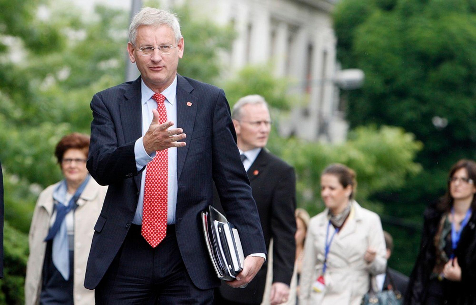 I SØKELYSET: Sveriges utenriksminister Carl Bildt (bildet) satt tidligere i styret for Lundin Petroleum, som anklages for brudd på folkeretten i Sudan.