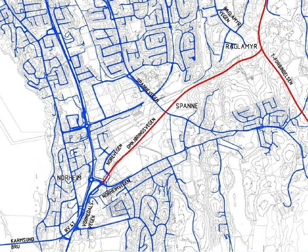 Boligområdene sør for Haugesund sentrum blir avlastet for gjennomgangstrafikk når vegen mellom Norheim og Raglamyr blir ferdig.