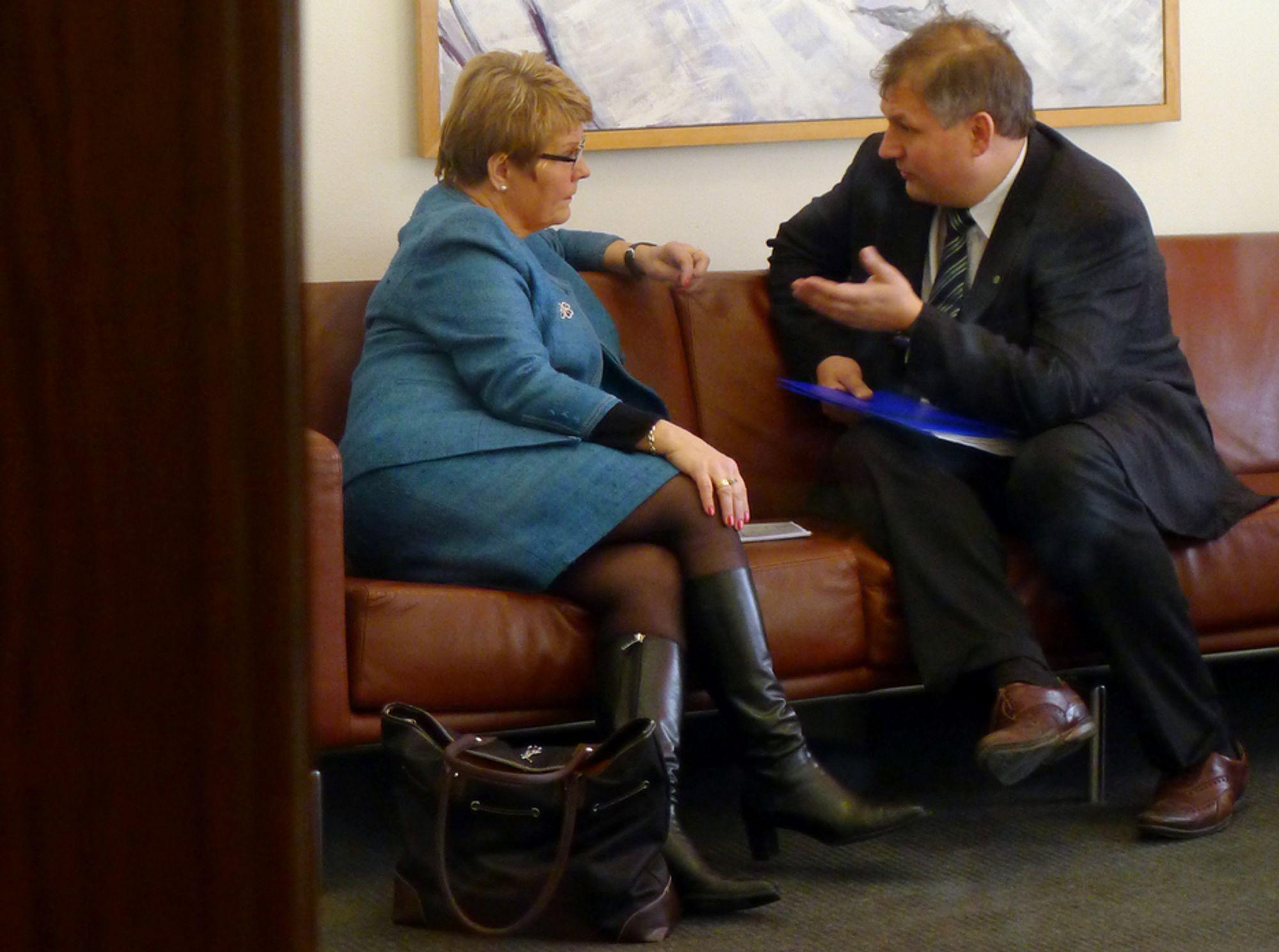 KOMPLISERT: - Det har vært en lang diskusjon. Det er komplisert å koble to lands systemer sammen, sier Terje Riis-Johansen. Her i samtale med Sveriges næringsminister Maud Olofsson i Stockholm i dag.