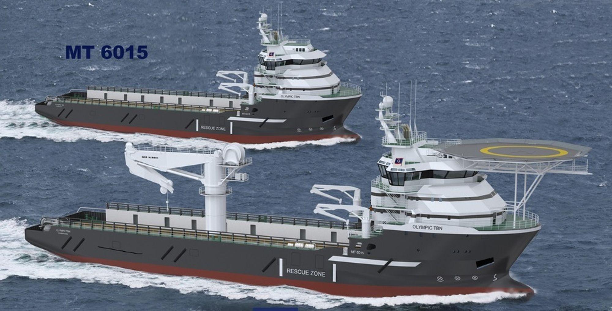 NY DESIGN: Marin Teknikk har utviklet den nye konstruksjonsskipstypen MT 6015 som Olympic Shipping har bestilt.