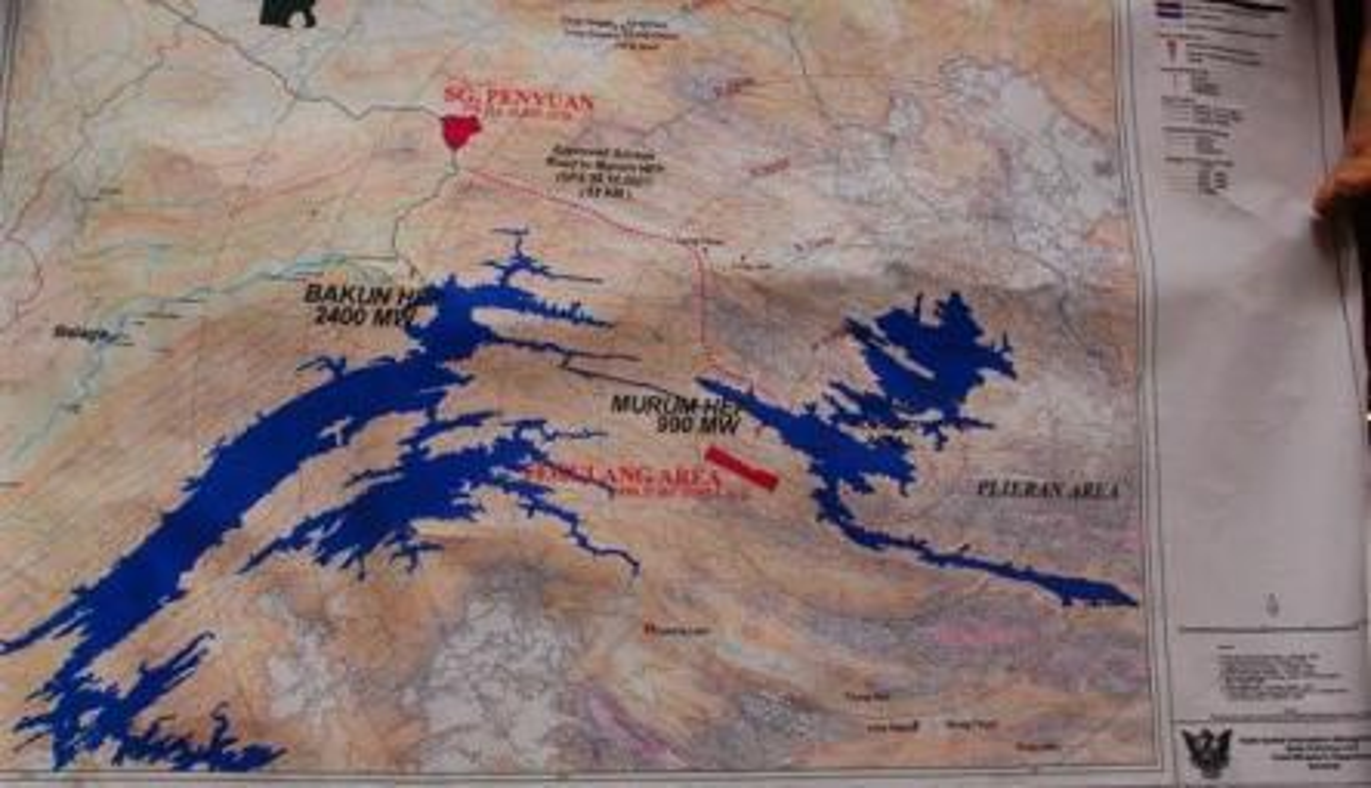 kart over murum-demningen i malaysia, regnskogfondet