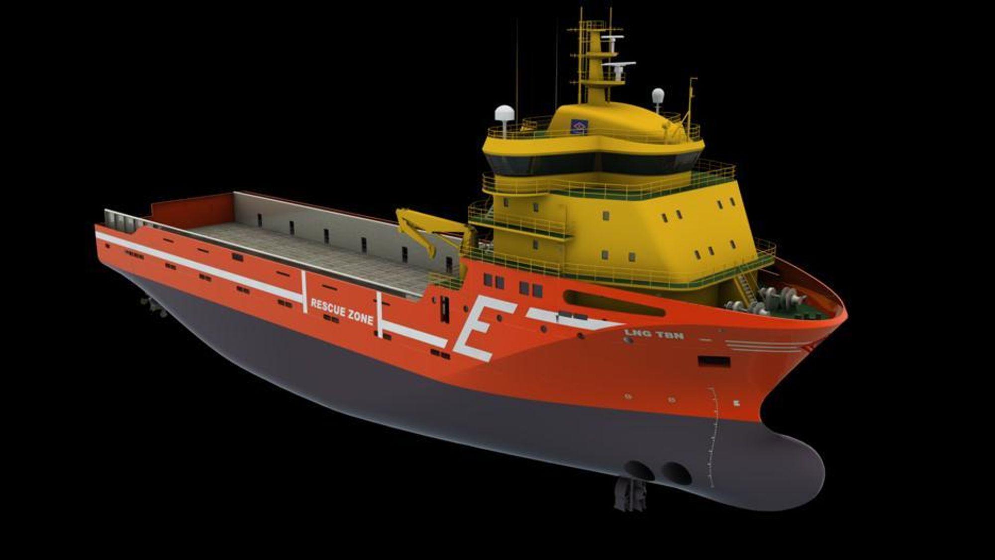 MER GASS: Kleven Maritime skal levere to LNG-dreve PSV-er til Eidesvik. Skipene bygges med Wätsilä VS 489 design. Skipene blir 89 meter lange, 21 meter brede og skal ha dual fuel-motorer.