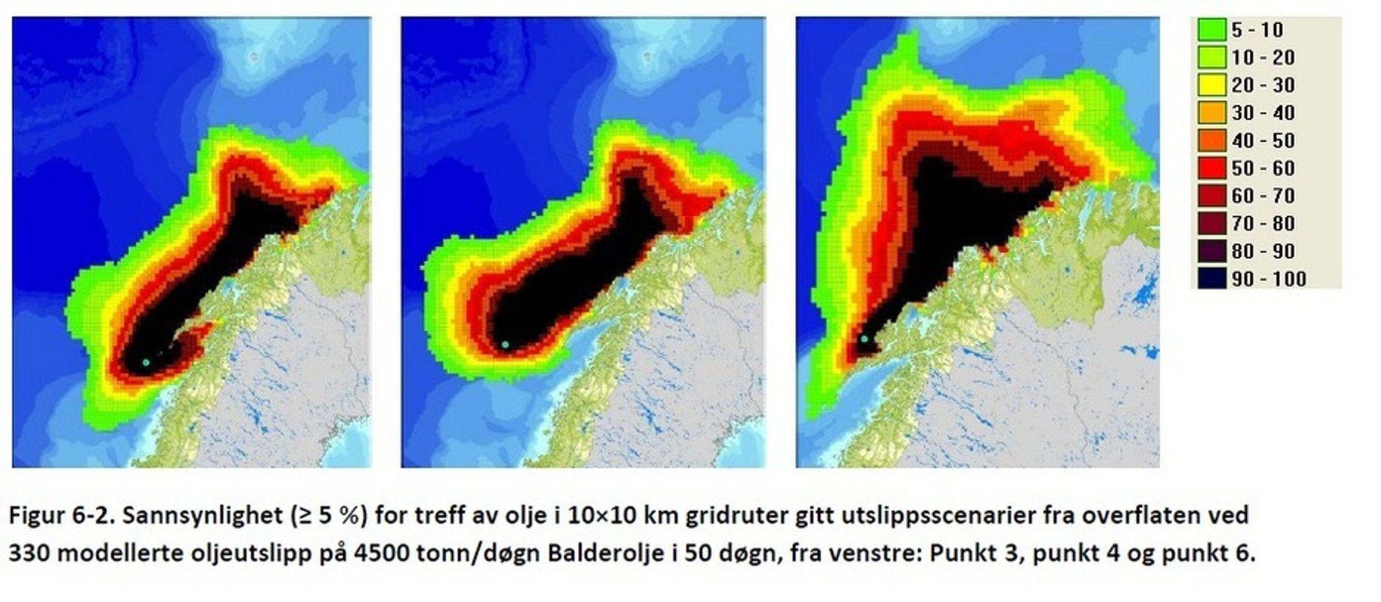 I VERSTE FALL: Slik kan oljen spre seg ved en overflate- eller sjøbunnsutblåsning fra Nordland VI med 50 døgns varighet, ifølge Risikogruppen. Oljen vil da strekke seg inn i Vestfjorden og strekke seg fra Meløy til Måsøy. Det er 5-10 prosent sjanse for at den når Nordkapp.