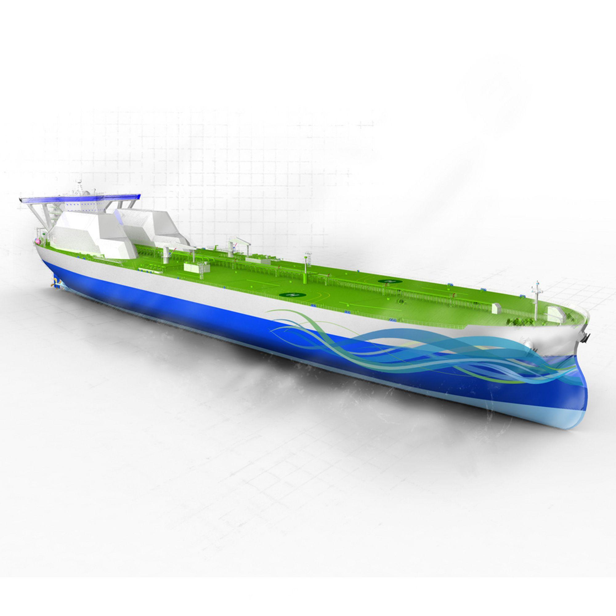 LANG: Triality må kompensere for tapt lastplass på grunn av V-skrog med lengde og bredde. Typisk VLCC vil være 370 meter langt og 70 meter bredt, mot 350/60 for konvensjonelt skip.
