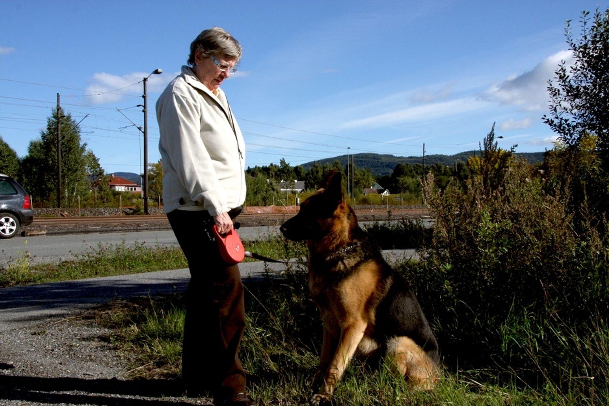 INDUSTRIELL SPASERTUR: Edith Jensen og hunden Aron (4) spaserer mellom togskinner og industriområder på Lierstranda. Hun skulle gjerne sett mer av fjorden, og er positiv til Gjelstens utviklingsplaner.