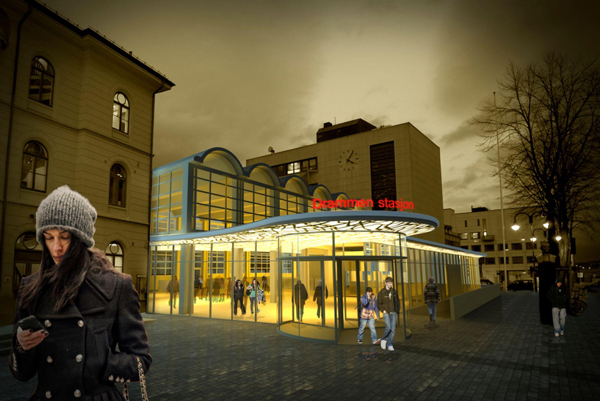 INNBYDENDE: Nye Drammen stasjon blir mer innbydende enn i dag. I tillegg til hovedinngangen blir det to ekstra adkomster til stasjonen.