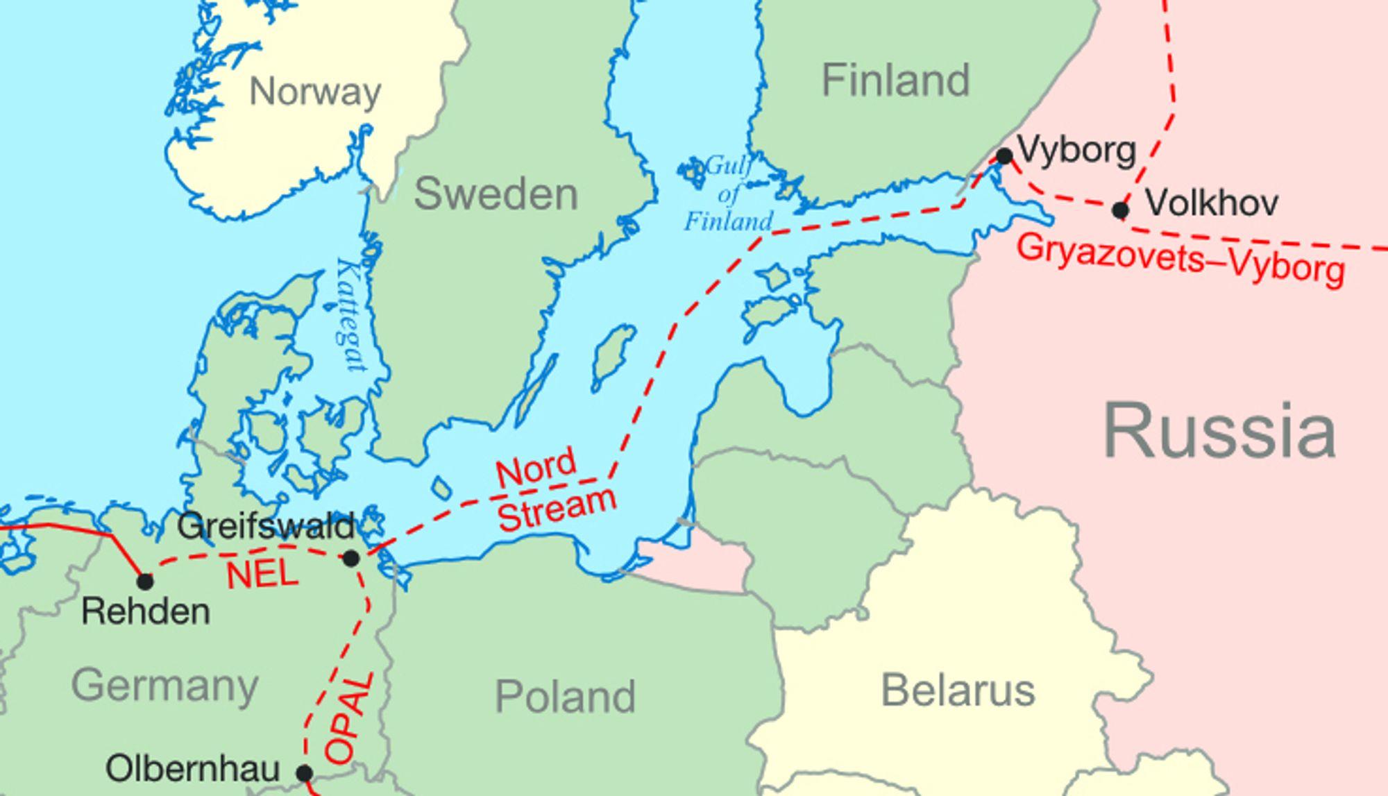 KLAR NESTE ÅR: Kartet viser hvor Nord Stream skal gå når den etter planen åpner i 2011.