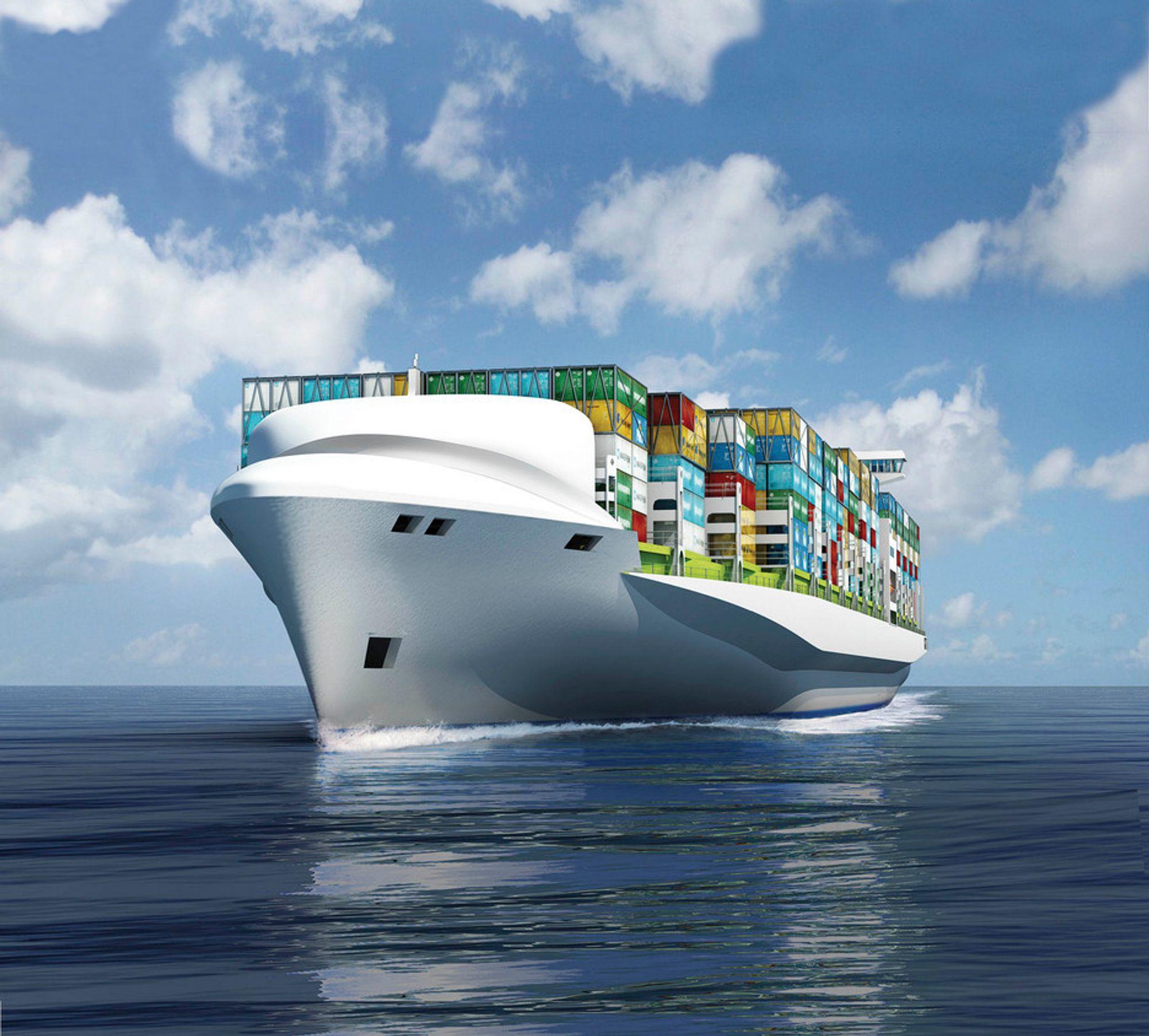 QUANTUM: I fjor lanserte DNV konseptet for nytt containerskip med nytt skrog og mindre behov for ballastvann.