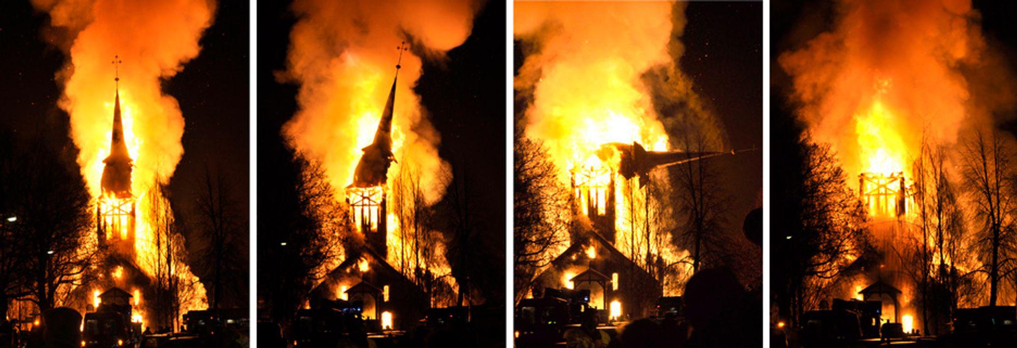 Hønefoss kirke brant ned til grunnen tirsdag kveld. Kirken var overtent da brannvesenet kom frem, kort tid etter at brannen ble meldt i 17-tiden. I dag - en dag for sent - skulle det installeres brannvarslingsanlegg i kirken.
